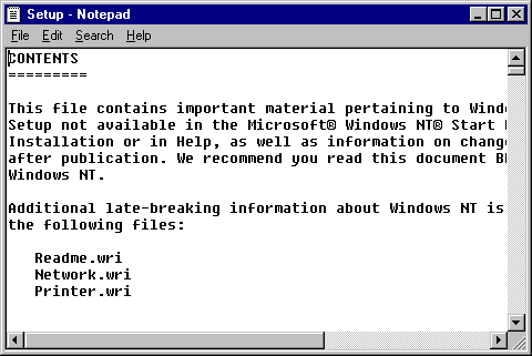 Notepad in Windows NT 4.0 Workstation (Notepad)