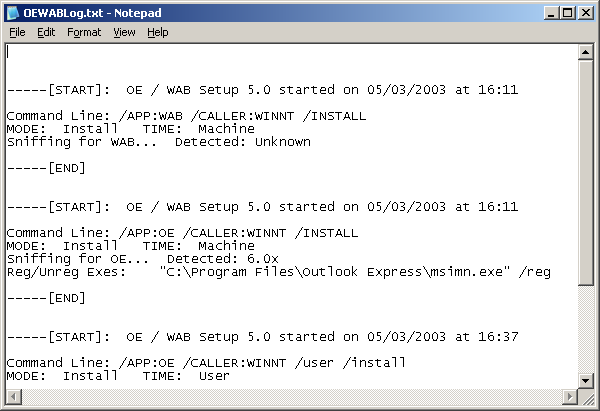 Notepad in Windows Server 2003 Web (Notepad)
