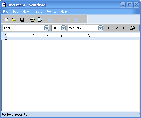 Text editor in Longhorn 4015 (WordPad)