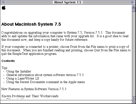 Text editor in System 7.5.3