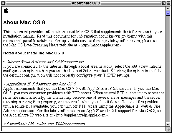 Text editor in Mac OS 8.0