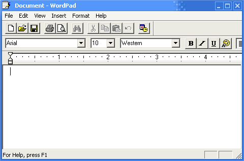 Text editor in Whistler 2257 (WordPad)