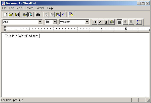 Text editor in Windows 2000 Pro (WordPad)
