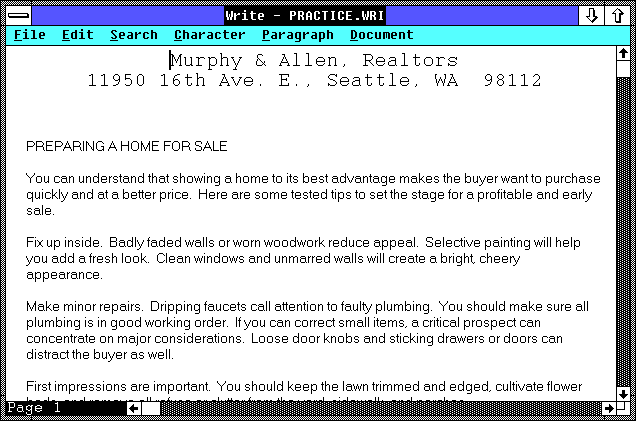 Text editor in Windows 2.03 (Write)