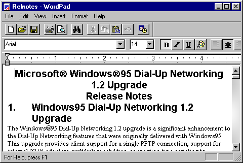 Text editor in Windows 95 (WordPad)
