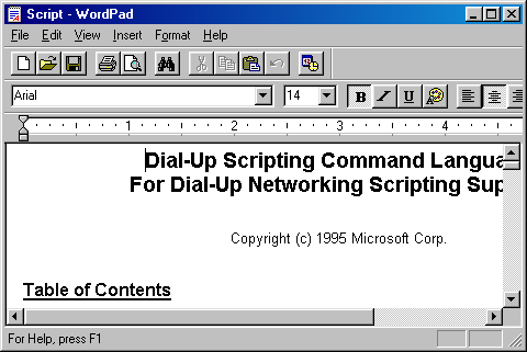 Text editor in Windows 98 (WordPad)