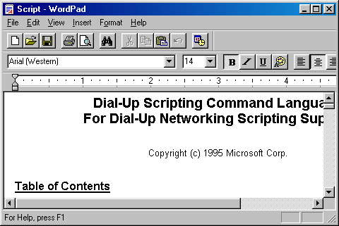 Text editor in Windows 98 SE (WordPad)
