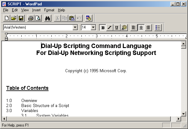Text editor in Windows Me (WordPad)