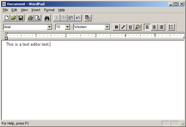 Text editor in Windows Server 2003 Web (WordPad)
