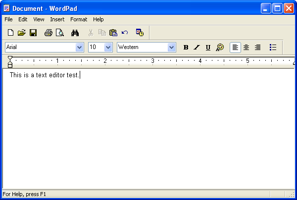Text editor in Windows XP Pro (WordPad)