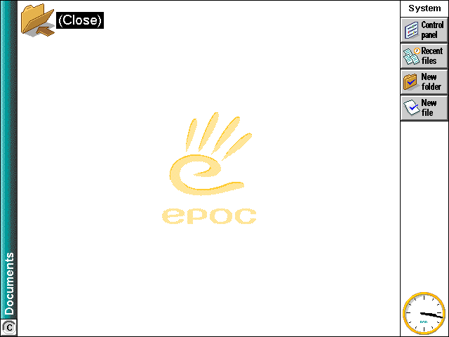 Empty desktop in EPOC R5/Psion Series 7