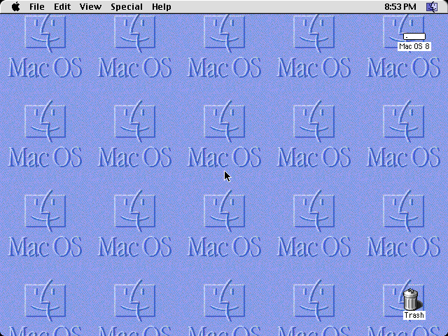 Empty desktop in Mac OS 8.0