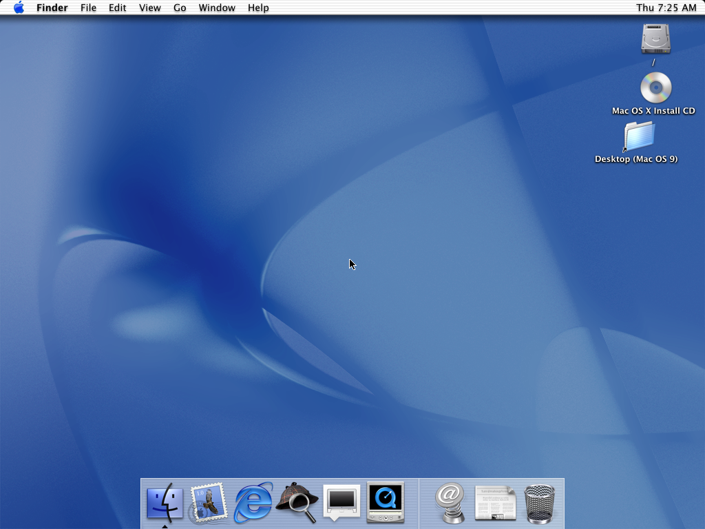 Empty desktop in Mac OS 10.0.4