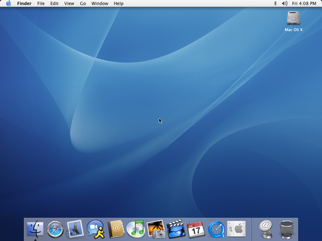 Empty desktop in Mac OS X Panther