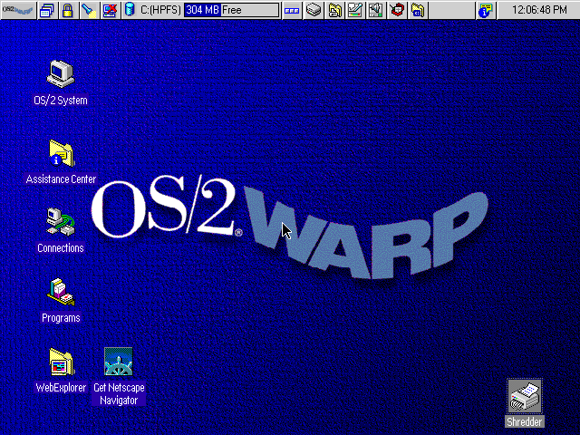 Empty desktop in OS/2 Warp 4