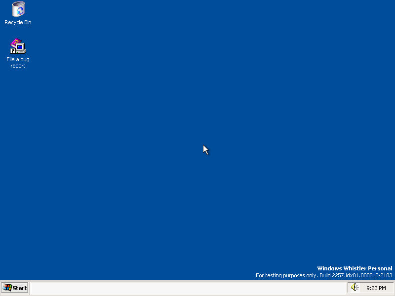 Empty desktop in Whistler 2257