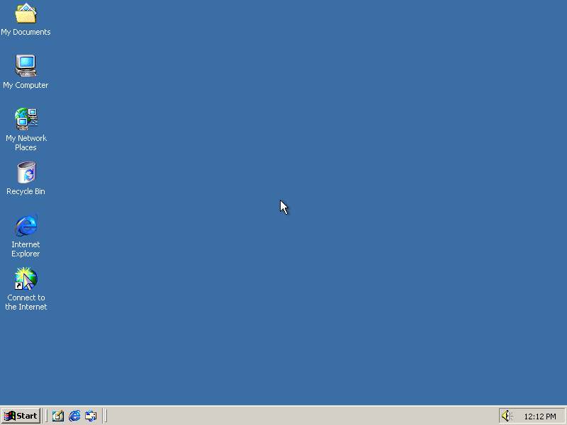 Empty desktop in Windows 2000 Advanced Server