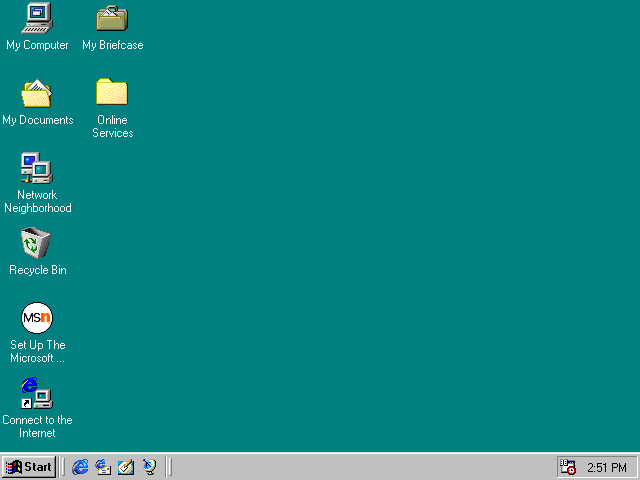 Empty desktop in Windows 98