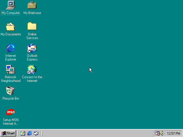 Empty desktop in Windows 98 SE