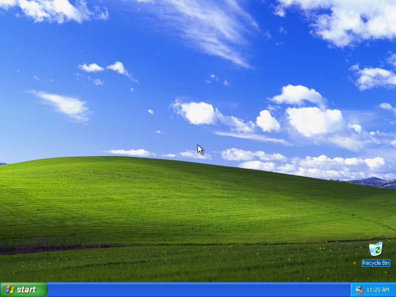 Empty desktop in Windows XP Pro