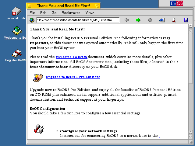 First run in BeOS R5.0.1 PE