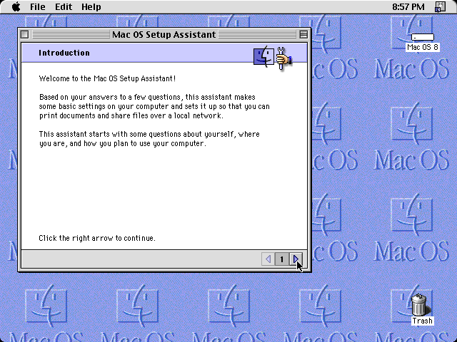 First run in Mac OS 8.0