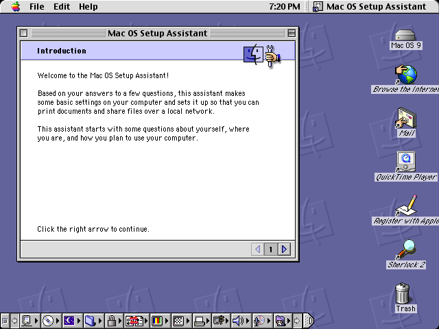 First run in Mac OS 9.0