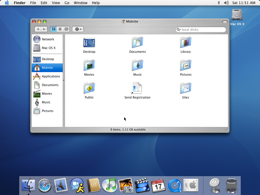 First run in Mac OS X Panther