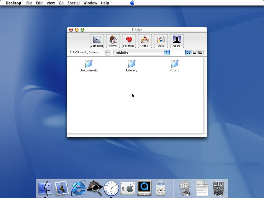 First run in Mac OS X Public Beta