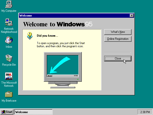First run in Windows 95