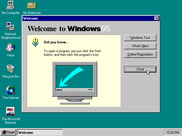 First run in Windows 95B