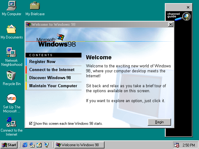 First run in Windows 98