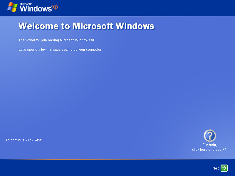 First run in Windows XP Pro