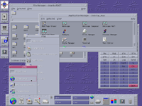 Desktop with applications in CDE 1.5 in Solaris 9