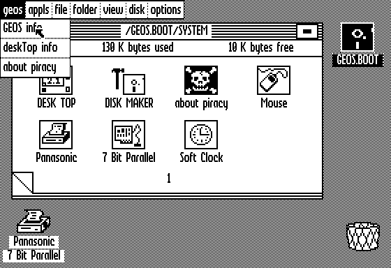 Desktop with applications in GEOS 2.1 for Apple II