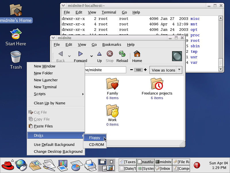 Desktop with applications in GNOME 2.2.0 in RedHat 9.