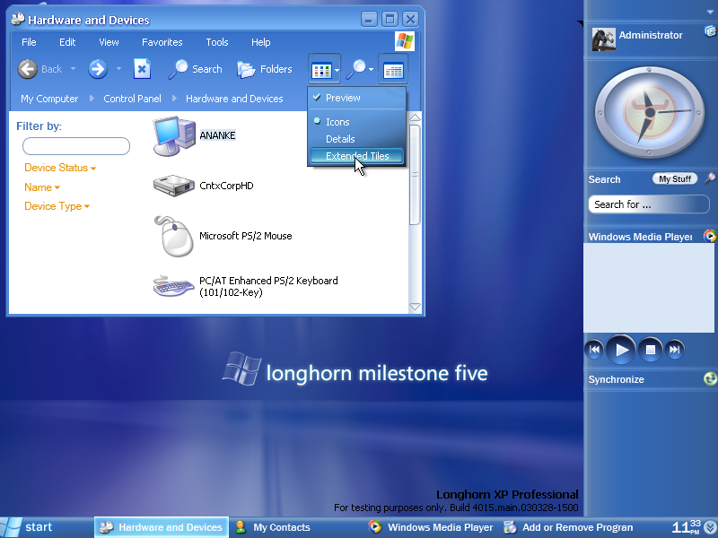 Desktop with applications in Longhorn 4015