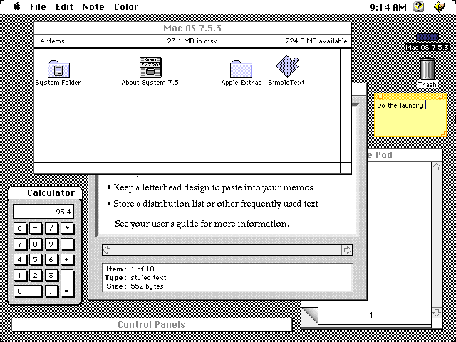 Desktop with applications in System 7.5.3