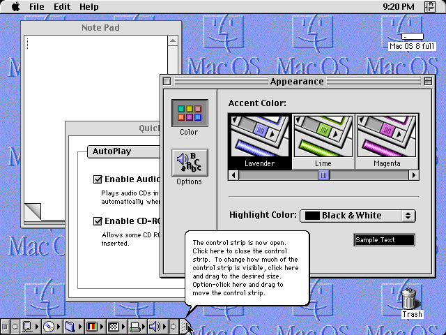 Desktop with applications in Mac OS 8.0