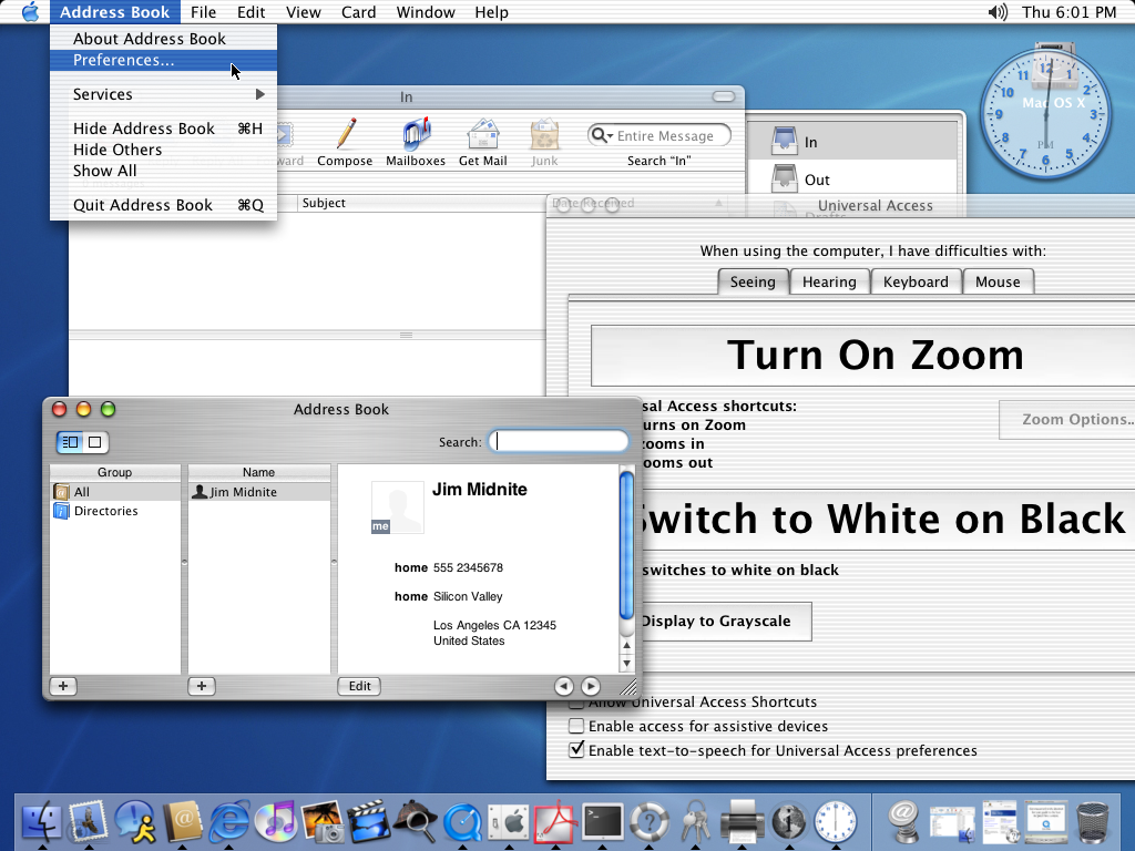 Desktop with applications in Mac OS X Jaguar
