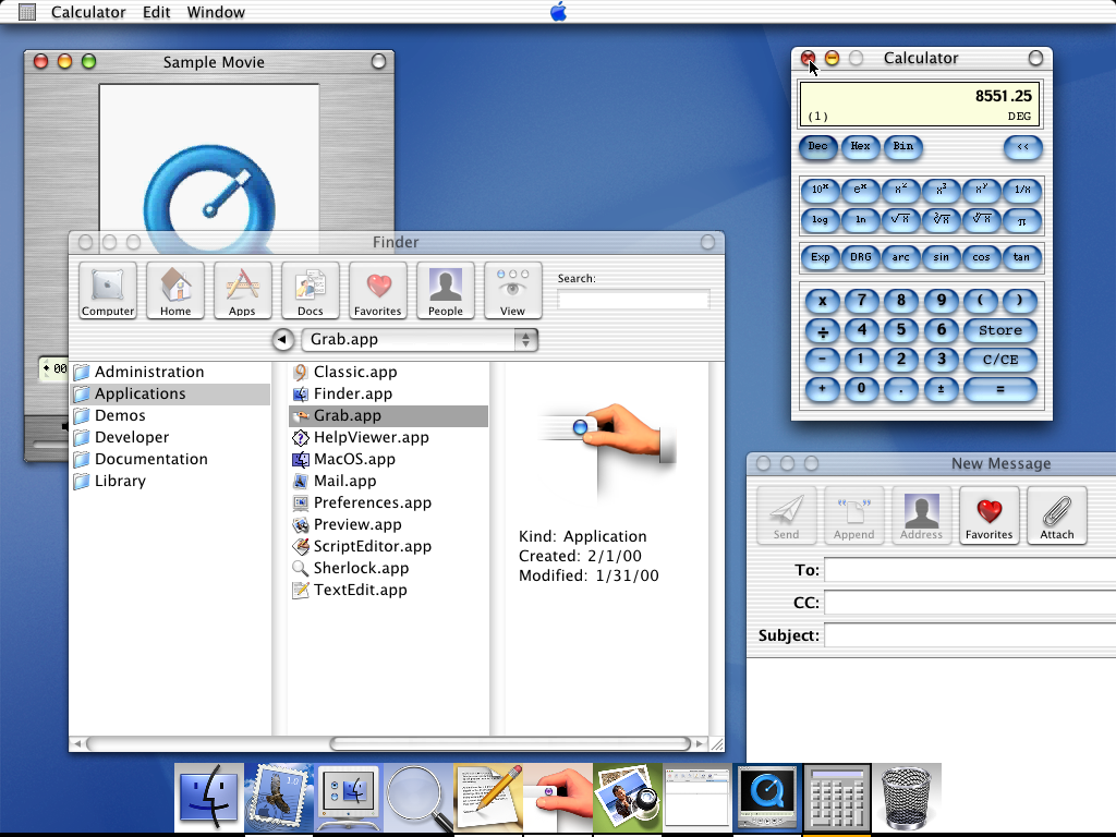 Desktop with applications in Mac OS X DP 3