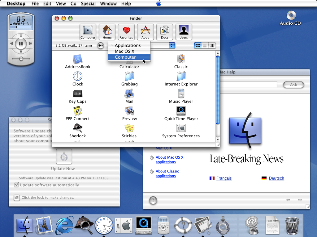 Desktop with applications in Mac OS X Public Beta