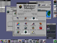 Desktop with applications in OPENSTEP 4.2