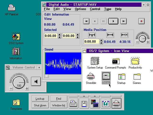 Desktop with applications in OS/2 Warp 3