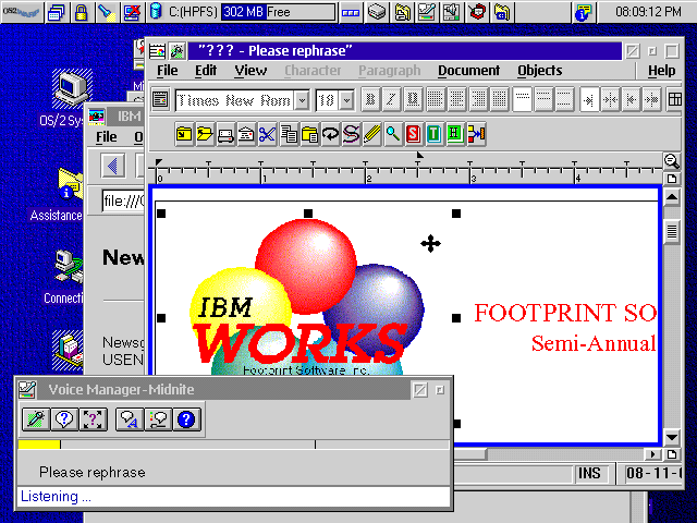Desktop with applications in OS/2 Warp 4