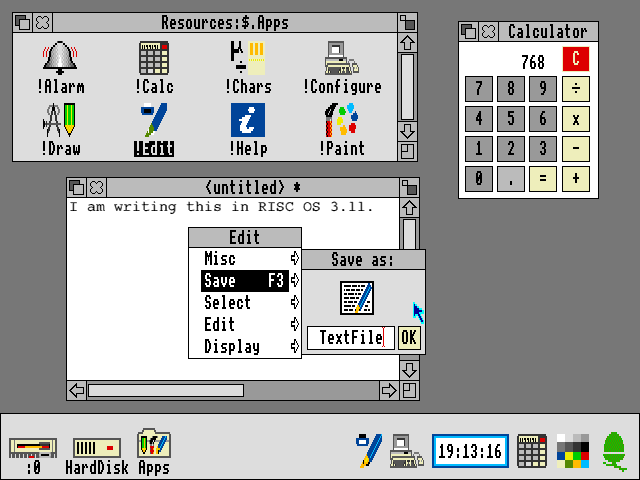 Desktop with applications in RISC OS 3.11