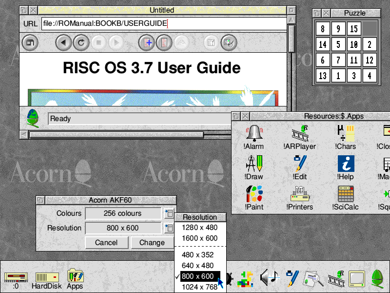 Desktop with applications in RISC OS 3.7