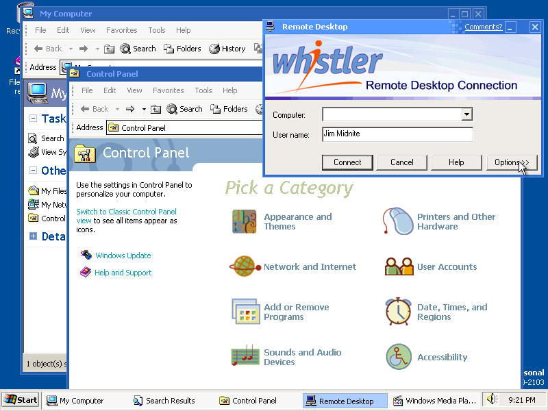 Desktop with applications in Whistler 2257