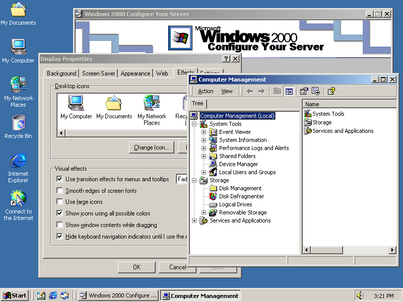 Desktop With Applications In Windows 2000 Advanced Server