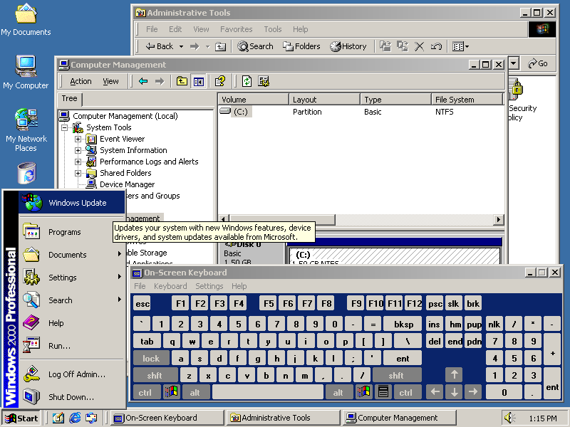 Desktop with applications in Windows 2000 Pro